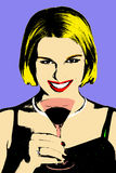 Women with coctail glass in pop-art. Blonde women with coctail glass in pop-art style stock illustration