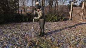 Women collect leaves with rake in the yard. In winter day stock video