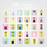 Women.color set of people icons .30 icons.vector illustration royalty free stock images