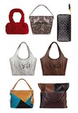 Women color stylish handbags isolated on white background, clipping paths included stock image