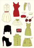 Women colored clothes Royalty Free Stock Photos