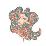 Women Colored Head Abstract mandala zentangle Stock Photos