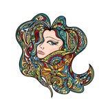Women Colored Head Abstract mandala zentangle Stock Photography