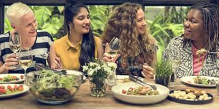 Women Communication Dinner Together Concept Royalty Free Stock Photography