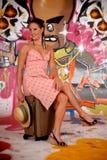 Women commuter graffiti wall Royalty Free Stock Images