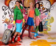 Women commuter graffiti wall Stock Images