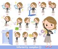 Women_complex necked del negro del pelo corto alto libre illustration