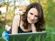 Women with computer Royalty Free Stock Photography