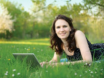 Women with computer Royalty Free Stock Image