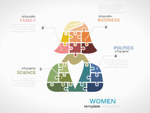 Women. Concept infographic template with silhouette made out of puzzle pieces Stock Photography