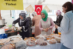 Women cook traditional Turkish food. Royalty Free Stock Photo
