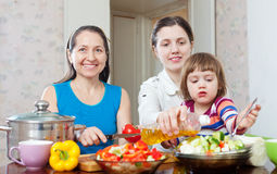 Women cook vegetables, while baby eats salad Royalty Free Stock Photos