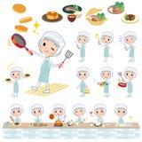 Women_cooking Arbeiter-Schutzmantel stock abbildung