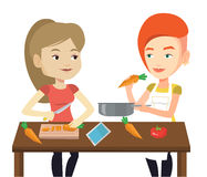 Women cooking healthy vegetable meal. Royalty Free Stock Photos