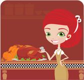 Women cooking for Thanksgiving Royalty Free Stock Photos