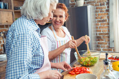 Women cooking together. Smiling women in aprons cooking together in kitchen Royalty Free Stock Image