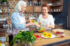 Women cooking together Stock Photo