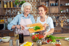 Women cooking together Royalty Free Stock Photo