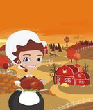 Women cooks turkey Stock Images