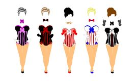 Women in corsets and bow ties Royalty Free Stock Images