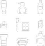 Women cosmetic  isolated line icons. Women cosmetic object  isolated line icons Royalty Free Stock Photo