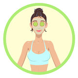 Women with cosmetic mask on faces Royalty Free Stock Images