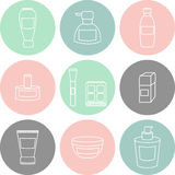 Women cosmetic object  isolated color icons. Women cosmetic elements  isolated line icons Stock Photo