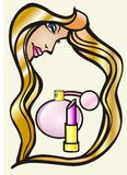 Women cosmetics. Beuty womens hair cosmetics illustration Royalty Free Stock Photos