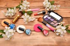 Women cosmetics and Apple Blossom Stock Photos