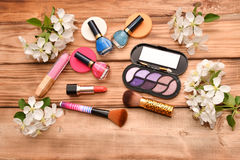 Women cosmetics and Apple Blossom Royalty Free Stock Image