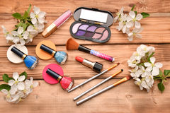 Women cosmetics and Apple Blossom Stock Photo