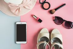 Women cosmetics and fashion items with copy space Royalty Free Stock Image
