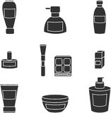 Women cosmetics vector isolated black icons. Women cosmetic object vector isolated black icons Royalty Free Stock Photography