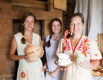 Women with country home-made meal