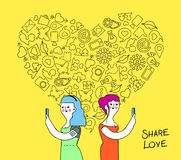 Women couple internet love concept illustration Stock Photo