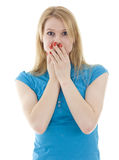 Women covering her mouth both hands Stock Images
