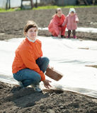 Women  covers  soil a polyethylene film Royalty Free Stock Photo