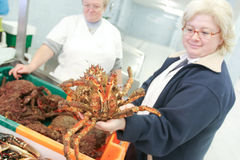 Women with Crab Royalty Free Stock Image