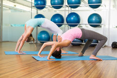 Women in crab pose in fitness studio Stock Photo