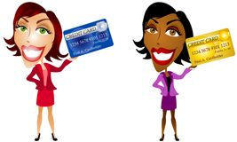 Women And Credit Cards. An illustration featuring your choice of 2 happy women holding their credit cards. Let's go shopping royalty free illustration