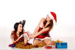 Women in cristmas clothes Royalty Free Stock Photography