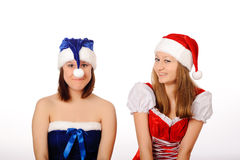Women in cristmas clothes Stock Photography