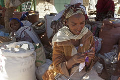 A women crocheting, Ethiopia Stock Images