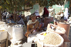 A women crocheting, Ethiopia. A women in the market place crocheting, Ethiopia Stock Photography