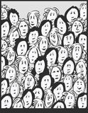 Women crowd -cartoon characters Stock Photography