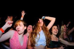 Women from the crowd at FIB Festival stock photo