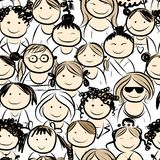 Women crowd, seamless pattern for your design Stock Images