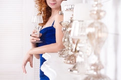 Women with crystal glass 2 Royalty Free Stock Photography