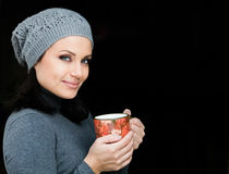 Women with cup of tea or coffe Stock Photo