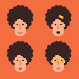 Women with curly hair flat Stock Photography